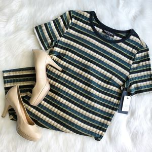 Fashion Union • Green Striped Knit Dress
